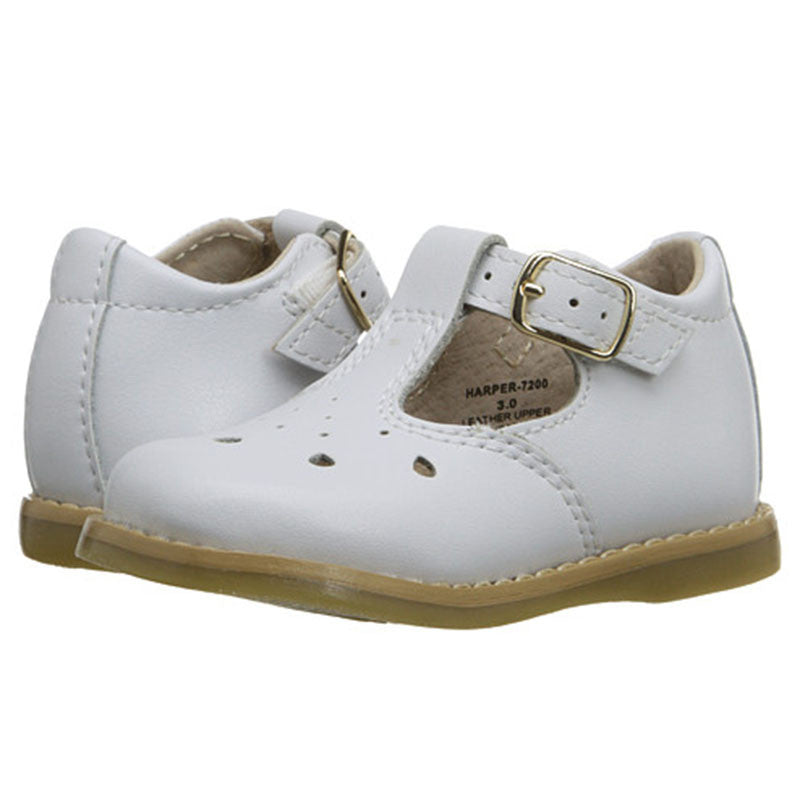 Footmates Baby Girl's Harper White T-Strap Shoes