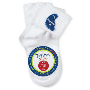 Jefferies Socks Boy's Girl's White Unisex Cuff Socks 3 Pair Pack - Madison-Drake Children's Boutique