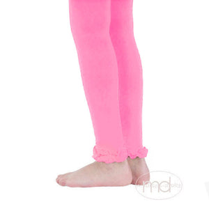 Jefferies Socks Ruffled Footless Tights - Girls Bubblegum Leggings - Madison-Drake Children's Boutique
