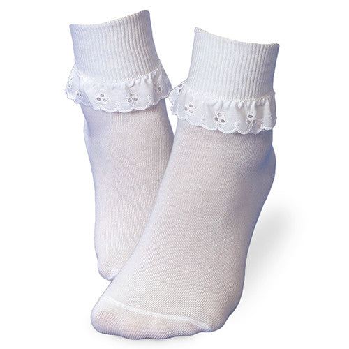 Jefferies Socks Girls White Eyelet Dress Socks - Madison-Drake Children's Boutique
