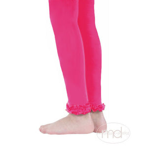Jefferies Socks Ruffled Footless Tights - Girls Hot Pink Leggings - Madison-Drake Children's Boutique