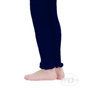 Jefferies Socks Ruffled Footless Tights - Girls Navy Blue Leggings - Madison-Drake Children's Boutique