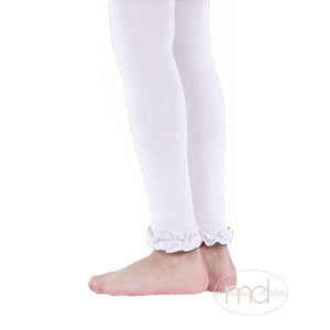 Jefferies Socks Ruffled Footless Tights -  Girls White Leggings - Madison-Drake Children's Boutique