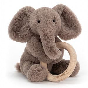 Jellycat® Shooshu Elephant Wooden Ring Toy - Madison-Drake Children's Boutique