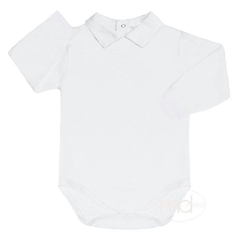 Kissy Kissy Baby Boys White Collared Bodysuit