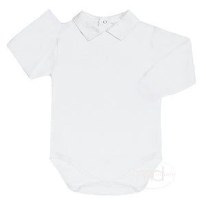 Kissy Kissy Baby Boys White Collared Bodysuit - Long Sleeves - Madison-Drake Children's Boutique