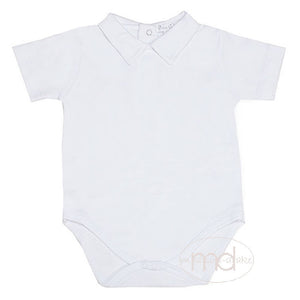 Kissy Kissy Baby Boy's White Knit Short Sleeved Collared Shirt Onesie