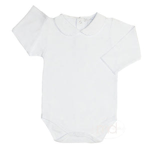 Kissy Kissy Baby Girls White Collared Bodysuit - Long Sleeves - Madison-Drake Children's Boutique
