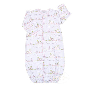 Kissy Kissy Noahs Ark Baby Girls Pink Convertible Gown - Madison-Drake Children's Boutique