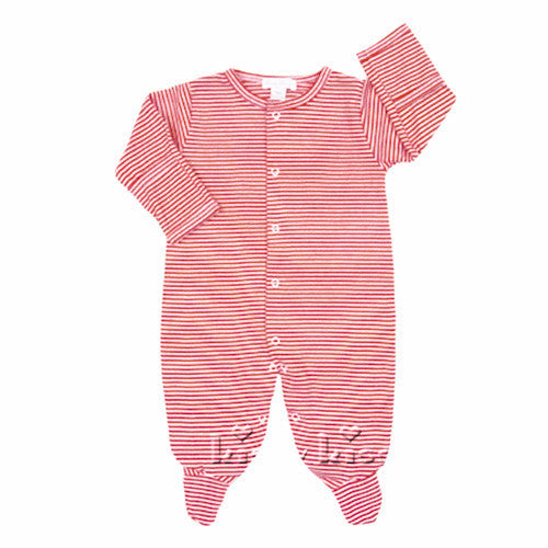 beb7d4aa345a9 Kissy Kissy Baby Boys / Girls Red Stripe Unisex Footie - Madison-Drake  Children's Boutique