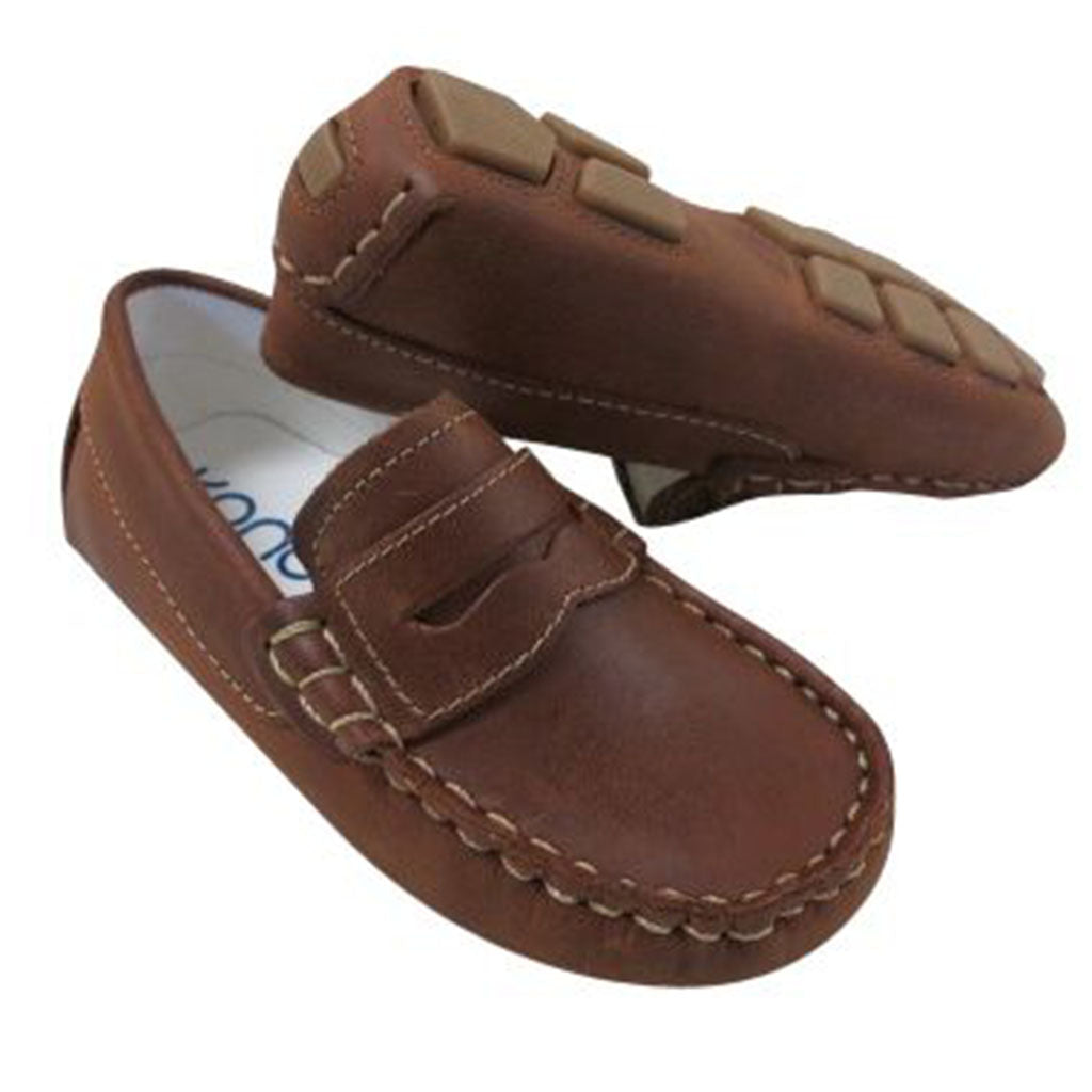 75cf5ef56 Kone Driving Moccasin Little Boy's Loafers Distressed Copper - Madison-Drake  Children's Boutique