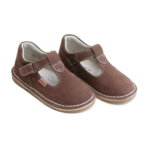 Lamour Little Girl's Alexis Brown Nubuck T-Strap Mary Jane Shoes