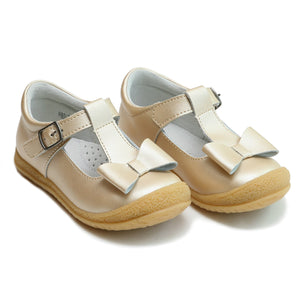 L'Amour Little Girl's Champagne Shimmer T-Strap Mary Jane Bow Shoes