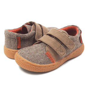 Livie and Luca Walnut Hayes Toddler Boy's Leather Shoes Herringbone