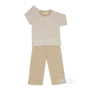 Luigi Kids Little Boy's Tan Stripe Pant Set