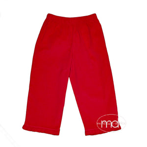 Luigi Kids Girls Red Corduroy Ruffled Pants
