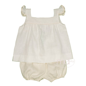 Lullaby Set Natural Linen Little Girl's Bloomer Sally Swing Set