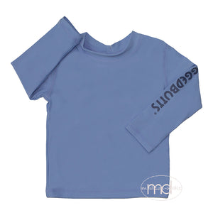 RuggedButts Toddler Boy's Blue Long Sleeve Rash Guard Little Boy Swim