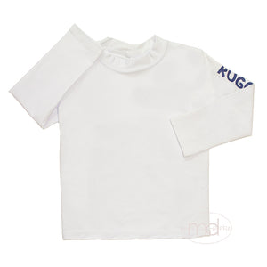RuggedButts Toddler Boy's White Long Sleeve Rash Guard Little Boy Swim