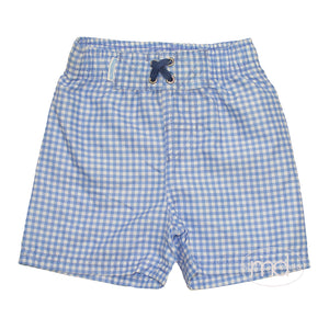 RuggedButts Toddler Boy's Blue Check Swim Trunks Little Boy Swimsuits