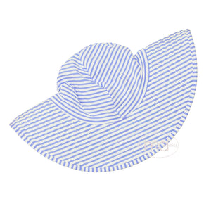 RuffleButts Little Girl's Blue Striped Seersucker Sun Hat