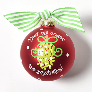 Coton Colors Meet Me Under The Mistletoe Glass Ornament - Madison-Drake Children's Boutique