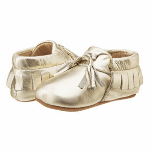 Old Soles Girls Fringed Bambini Toggle Shoes Gold Baby Boots