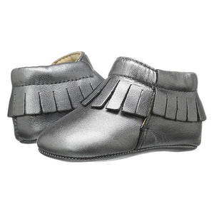 Old Soles Girls Fringed Boots Silver Moccasins Baby Shoes