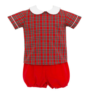 Petit Bebe Red Tartan Plaid Baby Boy's Christmas Set