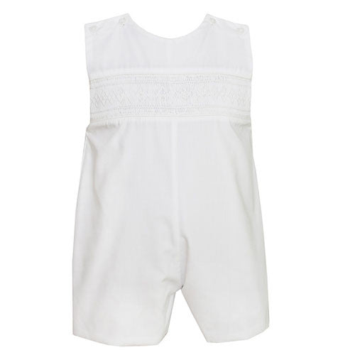 Petit Bebe Ethan Smocked Boys White Jon Jon - Madison-Drake Children's Boutique - 1