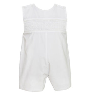 Petit Bebe Ethan Smocked Boys White Jon Jon - Madison-Drake Children's Boutique