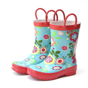 Pluie Pluie Girls Aqua Floral Rain Boots - Madison-Drake Children's Boutique
