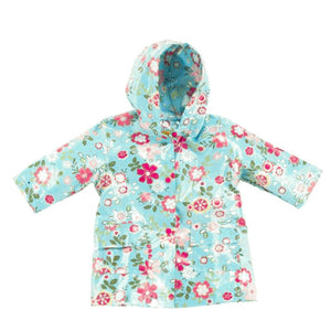 Pluie Pluie Girls Aqua Floral Raincoat - Madison-Drake Children's Boutique