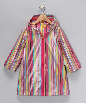 Pluie Pluie Girls Pink Stripe Raincoat - Madison-Drake Children's Boutique