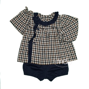 Remember Nguyen Navy Plaid Girl's Nazareth Bloomer Set