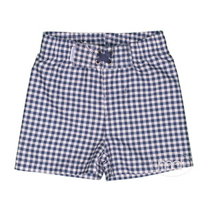RuggedButts Navy Gingham Boys Swim Trunks - Madison-Drake Children's Boutique
