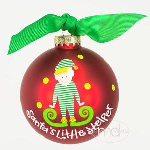 Coton Colors Santas Little Helper Boy Glass Ornament - Madison-Drake Children's Boutique