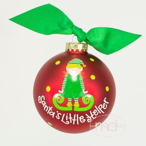 Coton Colors Santas Little Helper Girl Glass Ornament - Madison-Drake Children's Boutique