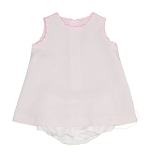 Sophie & Lucas Pink Scallop Stroll Baby Girl's White Pique Bloomer Set