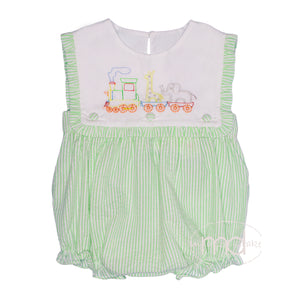Three Sisters Animal Train Baby Girl's Embroidered Bubble