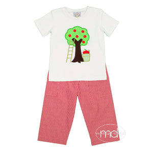 Three Sisters Apple Tree Boys Appliqued Pants Set - Madison-Drake Children's Boutique