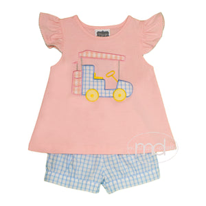 True Golf Little Girl's Appliqued Golf Cart Shorts Set