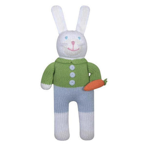 Boy Bunny Collin Knit Baby Rattle by Zubels - Madison-Drake Children's Boutique