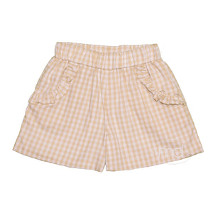 Zuccini Girls Khaki Check Ruffle Pocket Shorts - Madison-Drake Children's Boutique