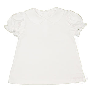 Zuccini Girls White Collared Short Sleeved Shirt White Picot Trim