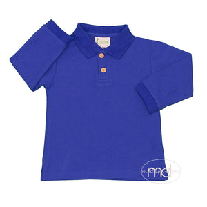 Zuccini Little Toddler Boy's Long Sleeved Royal Blue Polo Shirt