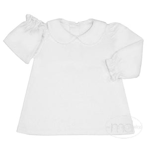 Zuccini Girls White Collared Tee White Picot Trim