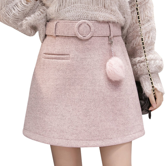 Woolen Mini Skirts A Line