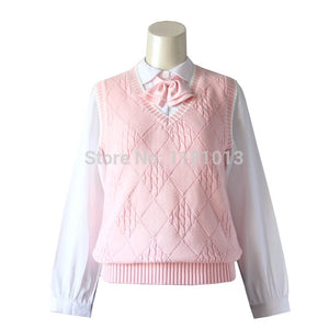 JK uniforms pullover sweater vest cute pink diamond twist style