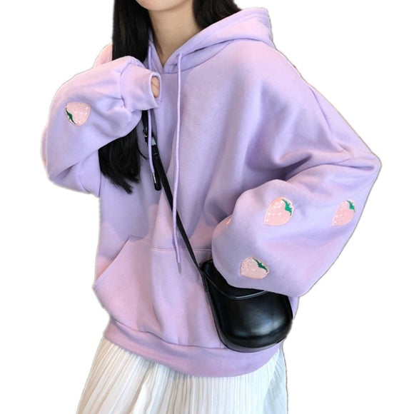 Harajuku Strawberry Embroidery Lavender Hoodies